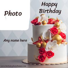 Chocolate Cake With Name, Happy Birthday Chocolate Cake, Pink Birthday Cakes, Birthday Cake With Flowers, Happy Birthday Flower, Birthday Chocolates, Beautiful Birthday Cakes, Birthday Club, Birthday Wishes With Photo
