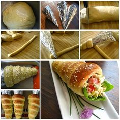 How to Make Cute Bread Cones! It is so creative to make paper cones and then wrap them completely with foil to make the molds to make bread cones. You can enjoy them plain or fill with salad, it looks so impressive, right? Bread Cones, Pizza Cones, Easter Bread Recipe, Comida Diy, Fingerfood Party, Good Food, Yummy Food, Yummy Yummy, Delish