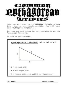 26 best teacher stuff images on pinterest powerpoint lesson discover the pythagorean theorem and triples center activity fandeluxe Image collections