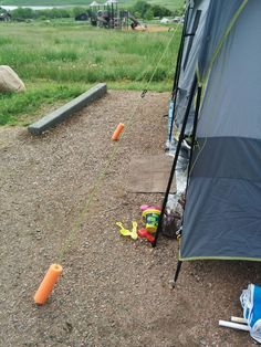 Our favorite camping hack! Pool noodles used to mark tent lines... there was no tripping! More