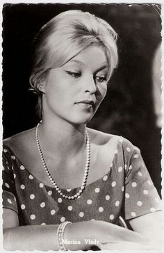 """""""Sensual, alluring French actress Marina Vlady had the makings of just another blonde bombshell, but in 1963 the feline beauty stunned everybody with her performance in L'Ape Regine/The Conjugal Bed. Classic Actresses, Actors & Actresses, Vintage Hollywood, Classic Hollywood, Divas, Photos Des Stars, Cinema, Ordinary Girls, French Beauty"""