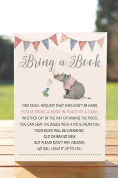 Rhino Bring a book instead of a card, Bring a book baby shower insert, Bring a book baby shower, Bri