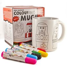 Colour in some traditional Maori Dolls. The New Zealand colouring mug! Use the magic markers provided on the pre-drawn mug containing Maori Dolls and witness how, in just one minute, it becomes a permanent treasure! Colouring, New Zealand, Markers, Skin Care, Traditional, Dolls, Mugs, Tableware, Gifts