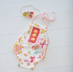 Peach Blossom Bliss - newborn romper in coral pink, raspberry pink, golden…