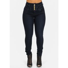 Butt Lifting High Rise Skinny Jeans (Dark Blue Wash) ($30) ❤ liked on Polyvore featuring jeans, pants, highwaist jeans, denim skinny jeans, cut skinny jeans, skinny fit jeans and high waisted jeans