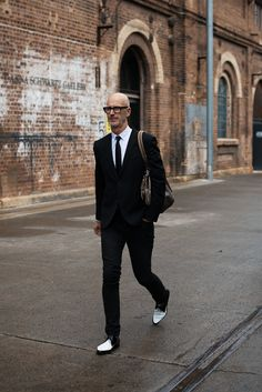 #streetstyle #bald Black and white. The black and white shoes make all the difference.