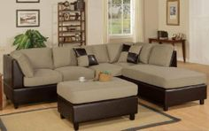 3pcs Sectional Sofa Set with Ottoman in Pebble Finish $599.00