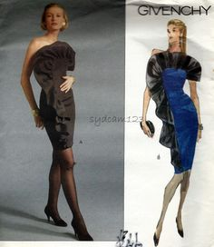 1990s Givenchy Cocktail Dress Pattern Fitted Strapless Sheath Large Front Ruffle Vogue 2582 Bust 30.5 to 32.5 UNCUT