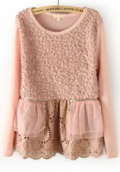 Pink Long Sleeve Hollow Symmetry Zipper Blouse