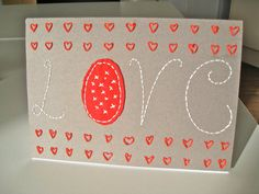 Embroidered Valentine Card Kit by BooandtheMoon on Etsy, £3.50