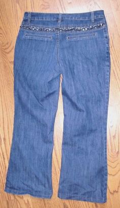 """Women's""""A.Z.I""""Sequence Embroidary Beads Stretch Blue Denim Jeans size 10 CUTE! #AZI #BootCut"""