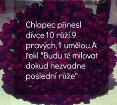 "Chlapec přinesl dívce 10 růží. 9 pravých, 1 umělou. A řekl: ""Budu tě milovat dokud nezvadne poslední růže."" Sad Quotes, Love Quotes, Light Of Life, True Words, Favorite Quotes, Bff, Quotations, Humor, Love You"