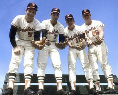 Brooks Robinson, Mark Belanger, Davey Johnson and Boog Powell pose at Orioles camp in March (Getty Images) GALLERY: Classic Photos of Spring Training Baltimore Orioles Baseball, Baltimore Maryland, Mlb Players, Baseball Players, Hockey, Basketball, Football, Mlb The Show, Sport