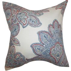 Haldis Floral Down Filled Throw Pillow Blue - Overstock™ Shopping - Great Deals on PILLOW COLLECTION INC Throw Pillows