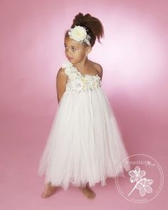 Ivory Rose Tutu Dress - She'll look like a Grecian beauty in the gorgeous, flowing layers of the Ivory Rose one-shoulder tutu dress. Our MOST POPULAR GOWN! Custom order it in the color & size of your choice (while supplies last)! Call 1-855-6-TRENDY (873639) or email info@trendybambini.com or order!