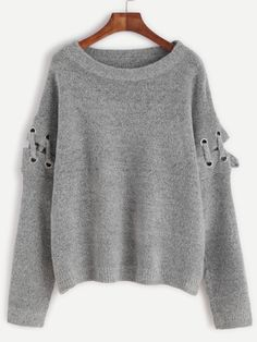 Grey Eyelet Lace Up Sleeve Pullover Sweater — € ------------color: Grey size: one-size Cute Sweaters, Pullover Sweaters, Cardigans, Vestidos Con Crop Top, Maxi Skirt Tutorial, Cool Outfits, Fashion Outfits, Women's Fashion, Going Out Shirts
