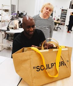 "4,570 Likes, 189 Comments - IKEA Today (@ikeatoday) on Instagram: ""Some of you guessed it! @virgilabloh @off____white prototyping a fresh take on the FRAKTA bag in…"""