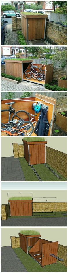 Amazing Shed Plans - Un rangement à vélos plutôt sympa Now You Can Build ANY Shed In A Weekend Even If You've Zero Woodworking Experience! Start building amazing sheds the easier way with a collection of shed plans! Outdoor Projects, Home Projects, Outdoor Decor, Outdoor Furniture, Woodworking Projects Diy, Woodworking Plans, Woodworking Videos, Garage Velo, Outdoor Bike Storage