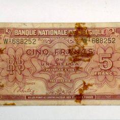 Vintage National Bank of Belgium 1943 Five 5 Francs Frank Note Bill Paper Dutch French German Money cash banknotes WW2 wartime Collectables #Vintage #National #Bank of #Belgium #1943 #Five 5 #Francs #Frank #Note #Bill #Paper #Dutch #French #German #Money #cash #banknotes #WW2 #wartime #Collectables #etsy #studio