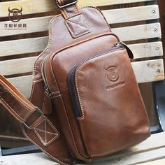 9e17dc620ceb Bullcaptain® Men Genuine Leather Sling Bag Business Casual Outdoor Chest  Crossbody Bag for Ipad Mini