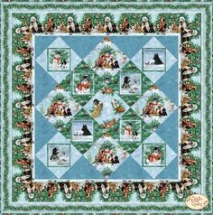 Holiday Pups Quilt Kit by Spectrix & Giordano Studio Kit from Creative Quilts. Dog Quilts, Panel Quilts, Sewing Projects, Projects To Try, Winter Quilts, Christmas Fabric, Quilt Kits, Pet Store, Scottie