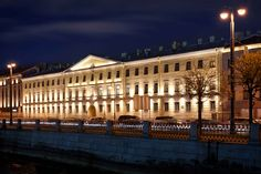 Martini Light lights on Makarova district of St. Petersburg. The project has been implemented with the aim of offering a set of lighting solutions able to reveal the architectural beauty of the facades and to make unique this big space.                                                           Designer: Piterlightproekt                               Products: Osio Pil incasso, Lux 180/260, Lux 350/400, Moove
