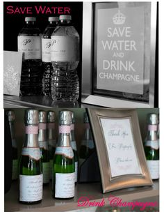 Bling & Bubbly Bridal Shower. - Mini bottles of bubbly would be suuuuuuper cute!! Maybe put one at each seat with a cute paper straw.