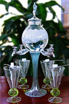 Rozier Fee 4 Spout Absinthe Fountain With Glasses & Spoons Blue Fairy, Swirl Design, Home And Deco, Tea Set, Decoration, Tea Party, Glass Art, Tea Cups, Art Deco