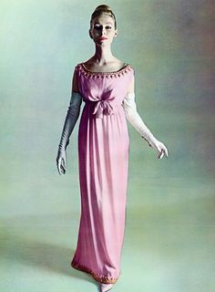 Empire style evening dress by Balenciaga, 1960. 1960's fashion