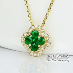 Solid 18K Gold Diamond & Emerald Lucky Clover Four Leaf Necklace,Anniversary/Wedding,Bridal Jewelry,Irish Luck Shamrock, Quatrefoil Necklace