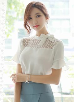 Pearl Accent Ribbon Tie Blouse Korean Women`s Fashion Shopping Mall, Styleonme. New Arrivals Everyday and Free International Shipping Available. Asian Fashion, Hijab Fashion, Fashion Dresses, Tie Blouse, Korean Outfits, Korean Women, Work Attire, The Dress, Blouse Designs