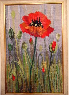 """Red poppy flower"" tapestry, #tapestry#originalgift#originaltapestry#handweaving#decorationwall#exclusivegift#homedecoration#poppy#interiordecoration#flowers#romance#"