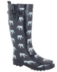 Capelli New York Shiny Elephant Parade Printed Ladies Rain Boot Navy Combo 9