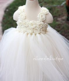 Flower Girl Dress Ivory tutu dress baby by coloranglesBoutique