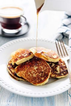 Delicious, quick, and healthy Gluten-free Banana Ricotta Pancakes. No refined sugar, minimum ingredients.