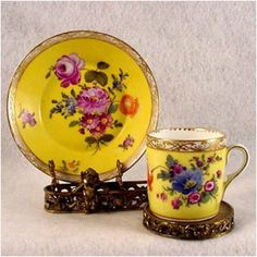 Ming yellow flowered Demitasse cup and saucer