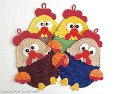 128 Rooster Decor or potholder Amigurumi Crochet by LittleOwlsHut