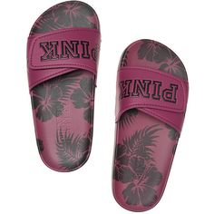 Victoria's Secret Crossover Comfort Slide ($25) ❤ liked on Polyvore featuring shoes, sandals, floral, strap shoes, victoria secret shoes, victoria secret sandals, foldable shoes and floral sandals