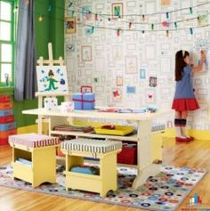 Beautiful Children' Bedroom and Playroom Design Ideas with Kids' Artworks and Painting Decorations | Furnikidz.com | Best Children Furniture Design