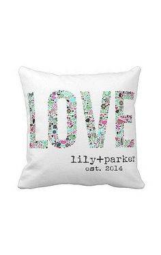 Personalized Floral LOVE Wedding Pillow Anniversary