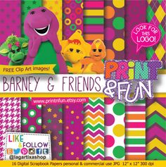Barney Dinosaurs Digital Paper Logo clip art by Printnfun on Etsy, (Bottle Green Background) Barney Birthday Party, Barney Party, Cars Birthday Parties, Birthday Party Invitations, Birthday Party Decorations, 2nd Birthday, Digital Scrapbook Paper, Digital Papers, Angelina Ballerina