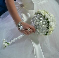 Artifical flowers wedding bouguet Les Perles and by wandadesign, €190.00