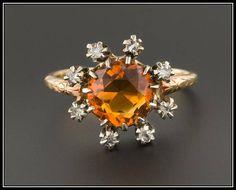 Vintage Citrine and Diamond Ring 14k Gold Citrine Ring