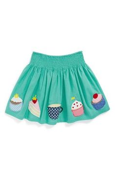 Mini Boden Fun Appliqué Skirt (Toddler Girls, Little Girls & Big Girls) available at Más Toddler Skirt, Baby Skirt, Baby Dress, Mini Boden, Baby Outfits, Kids Outfits, Toddler Fashion, Kids Fashion, Applique Skirt