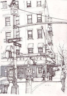 Bleecker Street, just south of Washington Square Park in Manhattan. Did this today as I wasn't at work so had a bit of time. New York is still under-represented in my drawings, trying to recti...