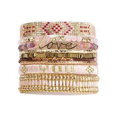 Love - Bracelet manchette - rose - Hipanema - Ref: 1611571 | Brandalley