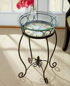 Vintage Accent Table Clock Glass Top Decor Furniture Round Side Coffee Sofa End…