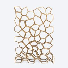 Modern Aged Brass Wire Screen or Room Divider Composed of Individual Wires Bent into Hexagonal and Pentagonal Shapes Aged Brass Iron Finish