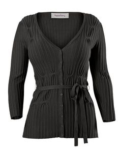 It buttons and stays buttoned!   From Bravissimo with strong positive reviews, the Rib Detail Cardigan for $61
