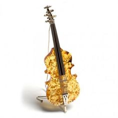 Music Lovers - Cognac Amber and Silver Cello Ornament - Ideal Gift for Christmas Also check www.Violettesbybecky.com for music gifts!